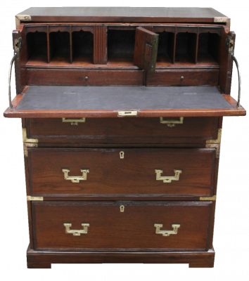 English Colonial Campaign Teak Chest of Drawers