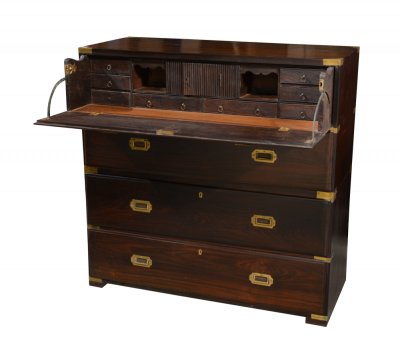 English Colonial Campaign Rosewood Chest of Drawers