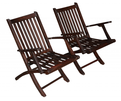 Rosewood Folding Chairs Pair
